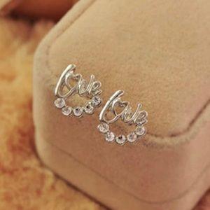Jewelry - Brand New Silver Love Crystal Stud Earrings